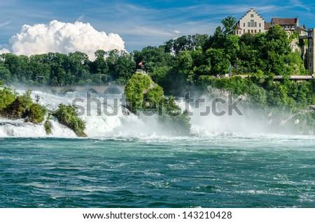 Rheinfall von Schaffhausen. The largest waterfall in Europe. - stock photo