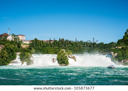 Rheinfall, Waterfall of the river Rhein at Neuhausen, Schaffhausen, Switzerland