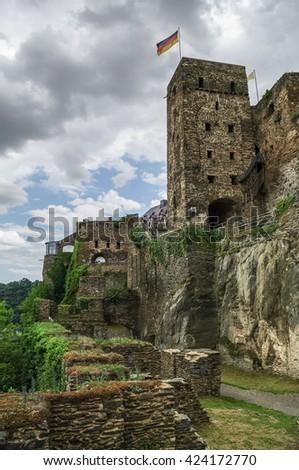 Rheinfels Castle near Village of Sankt Goar  at Rhine River,middle Rhine Valley, Rheingau, Rhineland-Palatinate, Germany - stock photo