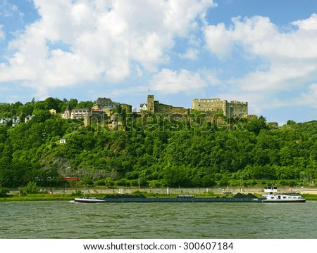 Rheinfels castle, Rhine Valley, Germany. Rhine Valley is UNESCO World Heritage Site - stock photo
