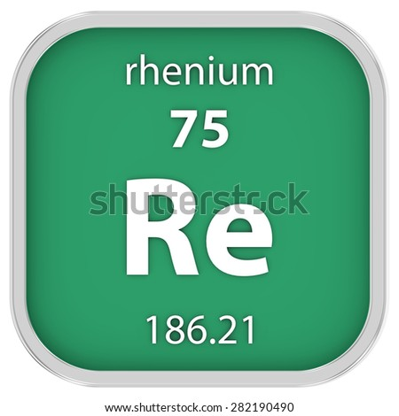 Rhenium material on the periodic table. Part of a series. - stock photo