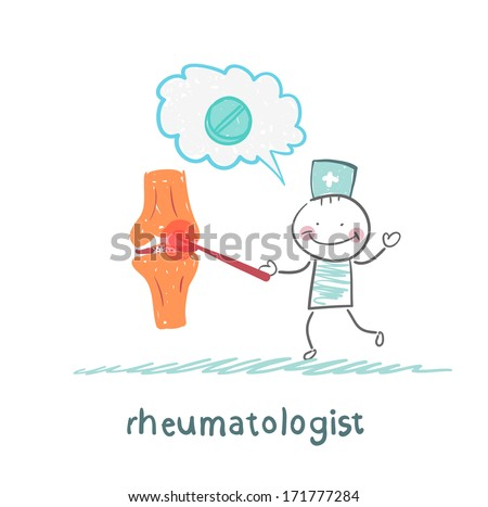 rheumatologist says about the pain in the joints - stock photo
