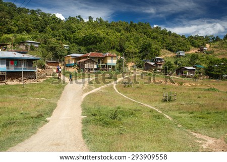 RHI, MYANMAR - JUNE 21 2015: The undeveloped Rhi village in the town of Falam in Chin State, Myanmar. - stock photo