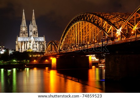 Rhine and Dom of Cologne, Germany - stock photo