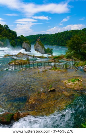 Rhine Falls, Schaffhausen. Famous Waterfall in Europe. Swiss Travel Destination and Tourist Attraction. Switzerland.