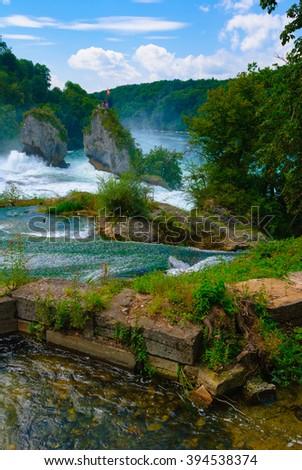 Rhine River Rhine Falls Schaffhausen Switzerland Famous Stock - Swiss river to the rhine