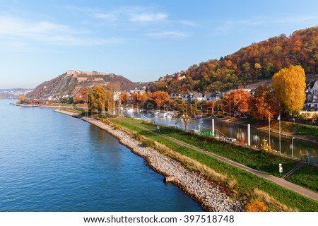 Rhine in Koblenz, Germany with the Ehrenbreitstein Hill in the background - stock photo