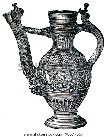 Rhine stone jar, 16th century - an illustration of the encyclopedia publishers Education, St. Petersburg, Russian Empire, 1896