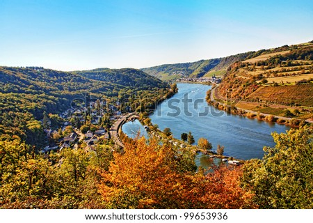 Rhine valley at Cochem town, Germany