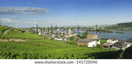 Rhine valley under blue sky majestic view in Rudesheim. - stock photo