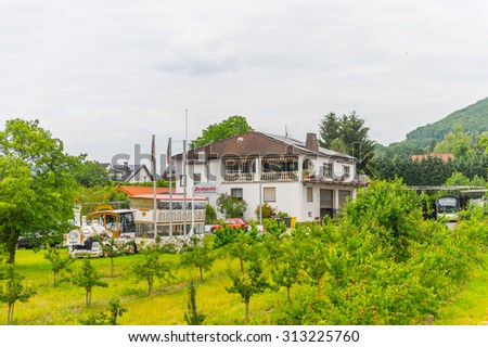 RHINELAND, GERMANY - JUNE 10, 2015: Architecture of the Rhineland, areas of Western Germany along the Middle and Lower Rhine