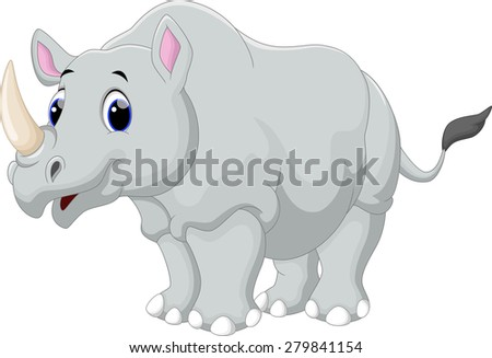 Rhino cartoon - stock photo