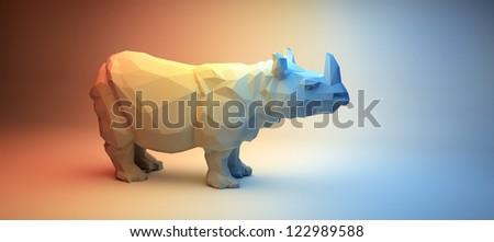Rhino in Rainbow Studio - stock photo
