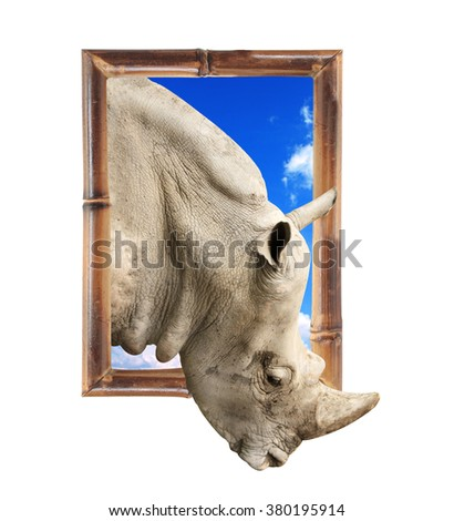 Rhinoceros in bamboo frame with 3d effect. Isolated on white background - stock photo