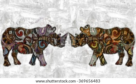 rhinoceroses watercolor painted with patterns