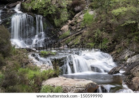 Rhiwargor Falls in Snowdonia National Park in North Wales