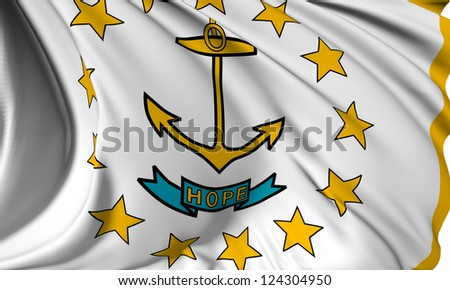 Rhode Island flag - USA state flags collection no_3 - stock photo