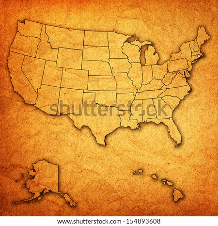rhode island on old vintage map of usa with state borders - stock photo