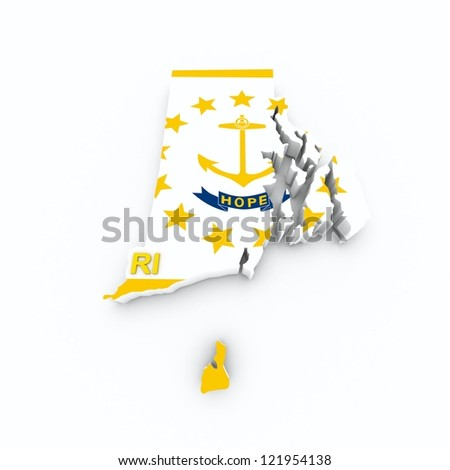 rhode island state flag on 3d map - stock photo