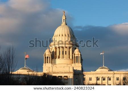 Rhode Island State House in Sunset, Providence, Rhode Island, USA - stock photo