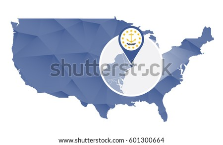 Rhode Island Flag Set Us State Stock Vector Shutterstock - Rhode island on the us map