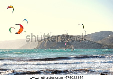 Rhodes, Greece - July 12: Prasonisi Bay on 12 July, 2016 in Rhodes, Greece. Prasonisi is very famous place for windsurfing and kitesurfing due to predictable and reliable winds with certain qualities