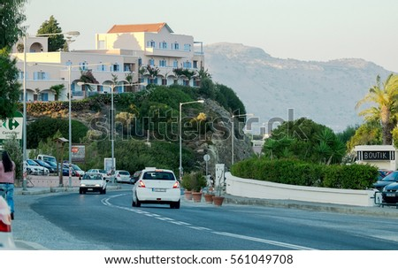 Rhodes, Greece - July 12: Rhodes roads on 12 July, 2016 in Rhodes, Greece. Rhodes is the largest of the Dodecanese islands in terms of land area and also the island group's historical capital.