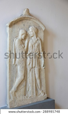 RHODES, GREECE - JUNE 12, 2015: Grave stele of Kalliarista in the Archeological Museum on Rhodes Island, Greece. - stock photo