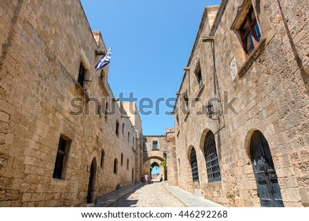 RHODES, GREECE - JUNE 9, 2016: Popular with tourists The Avenue of The Knights in the heart of the Old Town, it is best-preserved example of a medieval streets in Europe. - stock photo
