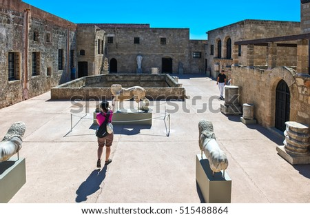 Rhodes,  Greece - May 19, 2010: Tourists in the old Hospital of St. John,s Knights, actually Archaeological Museum