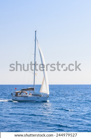 RHODES ISLAND. GREECE - JULY 28,2014: Yacht near of  Rhodes Island on July 28,2014. Greek islands are popular tourist destination for many Europeans.