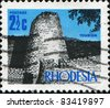 RHODESIA - CIRCA 1970: A stamp printed in Rhodesia shows  Zimbabwe Ruins , circa 1970 - stock photo