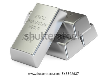 rhodium ingots closeup, 3D rendering isolated on white background