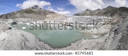 Rhone glacier panoramic shot, Switzerland. View from Furka Pass - stock photo