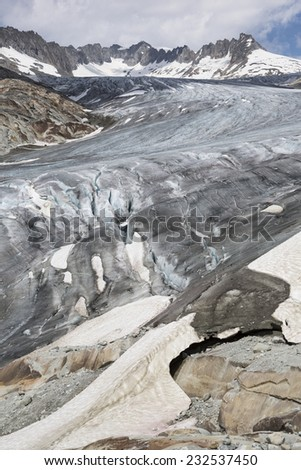 Rhone Glacier, Rohnegletscher in German, Swiss Alps, Switzerland, Europe - stock photo