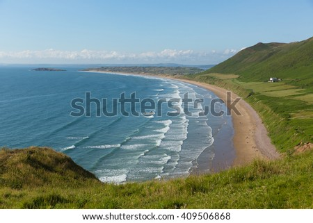 Rhossili beach The Gower peninsula South Wales UK one of the most beautiful  beaches in the uk at this popular Welsh holiday destination