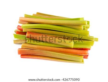 rhubarb stems isolated on white - stock photo