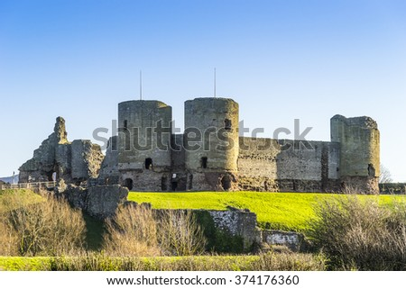 Rhuddlan Castle, Rhyl, North Wales ,UK, a Norman castle constructed in the thirteenth century - stock photo