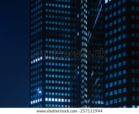 Rhythm of urban lights at night in the center of Frankfurt, Germany - stock photo