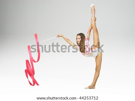 rhythmic gymnastics - stock photo