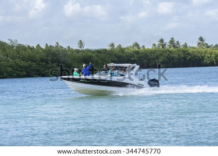 RIACHO BREIAO, BRAZIL - OCTOBER 11, 2015: Recreational boating is a popular activity on Riacho Breiao river near Maceio where many modern quality watercrafts are seen. - stock photo