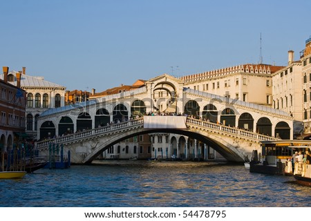 Rialto Bridge and Grand Canal, Venice, Italy - stock photo