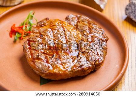 Rib-eye steak - stock photo