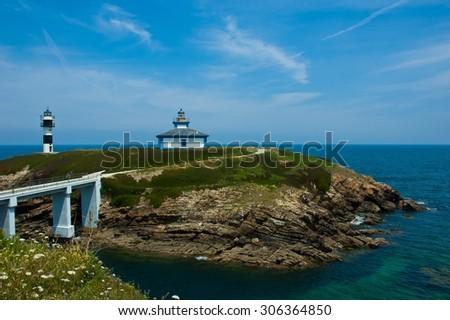 Ribadeo Lighthouse Galicia Asturias Cantabrico sea Spain - stock photo