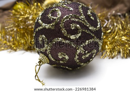 ribbon and christmas ball isolated