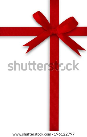 Ribbon and red bow on a white background.