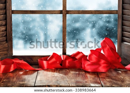 ribbon and window  - stock photo