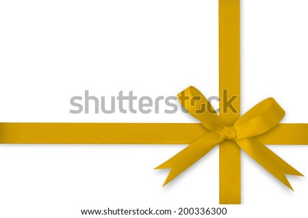 Ribbon and yellow gold bow on a white background.