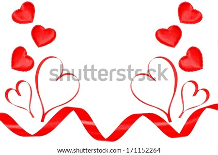 Ribbon border or frame of hearts over white