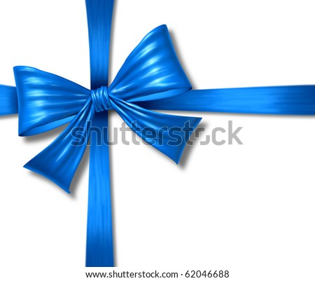 ribbon bow blue tape silk gift box christmas  isolated package - stock photo